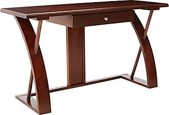 Round Hill Furniture Solid Wood Computer Desk, Cherry Brown
