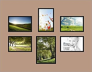 Art to Frames Double-Multimat-365-767/89-FRBW26079 Collage Photo Frame Double Mat with 1-5x7 and 5-4x6 Openings and Satin Black Frame