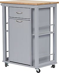 Wholesale Interiors Baxton Studio Yonkers Contemporary Kitchen Cart with Wood Top, Light Grey