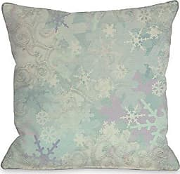 One Bella Casa Let it Snow Icy Snowflakes Throw Pillow Cover by Kate Ward Thacker, 18x 18