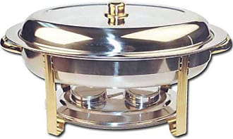 Winco USA Winware 6 Quart Oval Stainless Steel Gold Accented Chafer