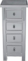 Heather Ann Creations The Emmy Collection Modern Style Mirrored 4 Drawer Bedroom Accent Jewelry Storage Cabinet, Antique White