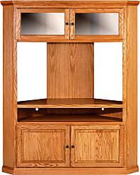 Forest Designs Traditional Large Corner TV Unit with Black Knobs Unfinished Alder - 4045B- TG-UA