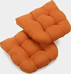 Blazing Needles U-Shaped Microsuede Tufted Dining Chair Cushions (Set of 2), 19, Tangerine Dream