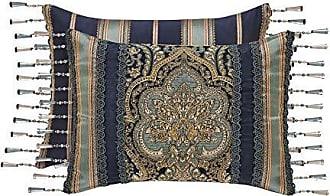 Five Queens Court Palmer Crystal Tassel Fringe Damask Boudoir Pillow, Teal Navy Gold