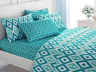 Chic Home 4 Piece Arundel Ikat Diamond and Contemporary Geometric Pattern Print Technique Twin Sheet Set Aqua