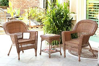 Jeco W00205_2-CES 3 Piece Wicker Chair and End Table Set Without Cushion, Honey