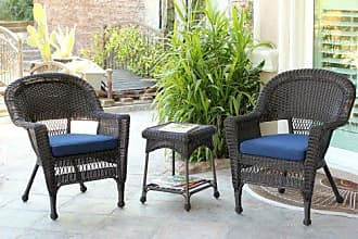 Jeco W00201_2-CES011 3 Piece Wicker End Table Set with with Blue Chair Cushion, Espresso