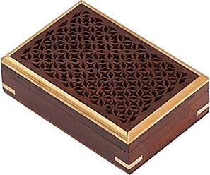Benzara BM113363 Mango Wood Jewelry/Storage Box with Detailed Pattern, Brown