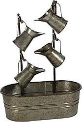 Deco 79 70553 Gray Iron Oval Basin with Tiered Jugs Fountain, 34 x 24