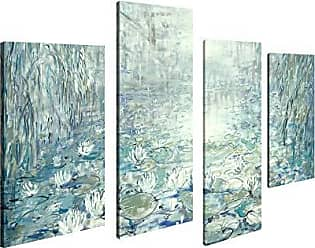 Art Maison Canada Abstract Landscape Floating Flowers Giclee Gallery Wrapped Canvas Wall Art |Modern Décor for Home and Office | Ready to Hang |Set of 4(12x24INCHx2pcs+12x18INCHx2pcs)