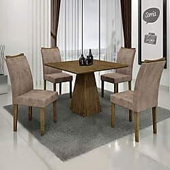 Leifer Conjunto Sala de Janta Mesa Quadrada Itália 4 Cadeiras Pampulha Leifer Ype/Ype/Capuccino