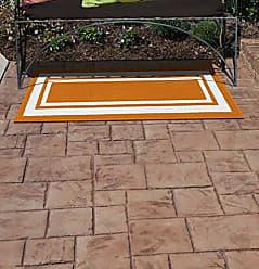 Garland Rug Borderline 24 x 60 Indoor/Outdoor Runner, Rectangle, Orange/White