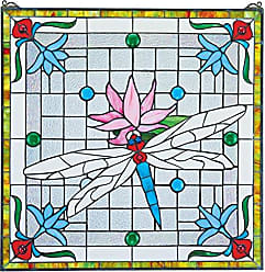 Design Toscano Stained Glass Panel - Dragonfly Pond Stained Glass Window Hangings - Window Treatments
