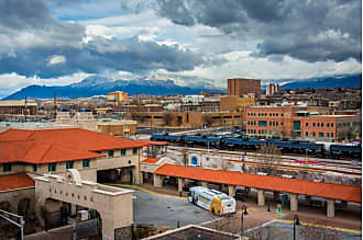 Noir Gallery View of Albuquerque and Mountains in New Mexico Canvas Wall Art - ALB-01-TW-08