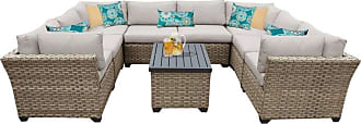 TK Classics Outdoor TK Classics Monterey Wicker 9 Piece Patio Conversation Set with Coffee Table and 2 Sets of Cushion Covers Beige / Beige - MONTEREY-09A-BEIGE