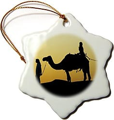 3D Rose 3dRose orn_10070_1 Desert Camels, A Way of Transportation Also Used for Racing at Dubai Camel Racecourse 5-Snowflake Ornament, 3-Inch, Porcelain