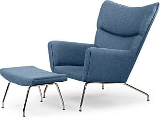 Kardiel Hans J Wegner Accent Arm Chair with Ottoman Carbonite - WING-CARBONITE