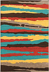 Linon Linon Claremont Collection Larva 2 Terra Turquoise Synthetic Rugs, 8x102, Terracotta