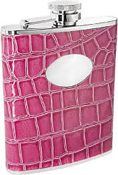 Visol Products VisolBlush Crocodile Leather Stainless Steel Flask, 6-Ounce, Pink
