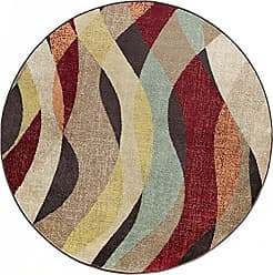 Tayse Willow Transitional Abstract Brown Round Area Rug, 5 Round