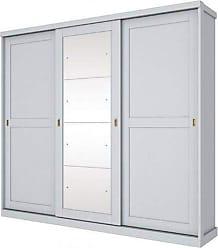 Henn Guarda roupas 03 portas de correr com espelho Olimpya Henn - Branco HP