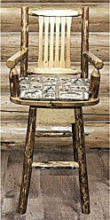 Montana Woodworks MWGCBSWSCASBUCK24 Glacier Country Collection Counter Height Swivel Captains Barstool, Buckskin Upholstery