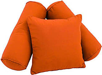 Blazing Needles 9816-S3-CD-TW-TD Double-Corded Solid Twill Throw Pillows with Inserts (Set of 3), Tangerine Dream