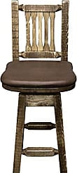 Montana Woodworks MWHCBSWSNRSLSADD24 Homestead Collection Counter Height Barstool with Back & Swivel, Saddle Upholstery, Stain & Lacquer Finish