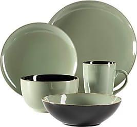 M/ÄSER 931491 Bel Tempo II dise/ño vintage pintados a mano, gres color verde Juego de platos para 6 personas