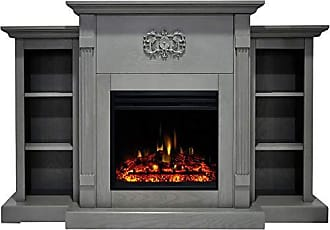 Cambridge Silversmiths Sanoma Heater with 72-in. Gray Mantel, Bookshelves, Enhanced Log Display, Multi-Color Flames, and Remote, CAM7233-1GRYLG3 Electric Fireplace