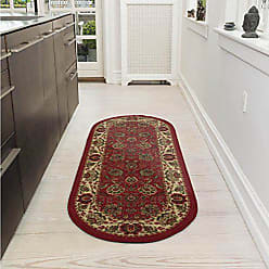 Ottomanson Ottohome Collection Traditional Persian Oriental Floral Design Non-Slip Rubber Backing Modern Area Rug, 20 X 59 Oval, Dark Red