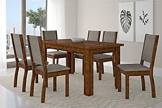 Siena Móveis Conjunto Mesa Primus com 6 Cadeiras Capri Siena Móveis Rústico