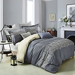 Home City Inc. Superior Harrison 100% Cotton Slate Blue Duvet Cover with Light Gold Scrolling Embroidery and 1 Pillow Sham, Reversible Bedding Set - Twin/Twin XL