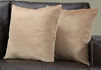 Monarch Specialties Diamond Velvet Decorative Throw Pillow, 18 x 18, Beige