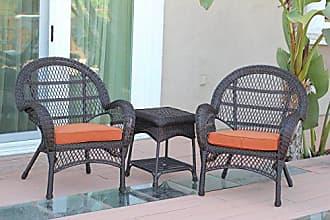 Jeco W00208-C_2-CES016 3 Piece Santa Maria Wicker Chair Set with Orange Cushions, Espresso