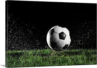 Great Big Canvas Soccer Ball in Motion Over Grass Canvas Wall Art - 1000682_24_24X16_NONE