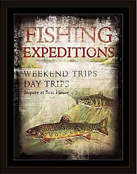 EAZL Fishing Expeditions Two Fish Brook Lake Lodge Distressed Painting Red & Green, Framed Canvas Art by Pied Piper Creative