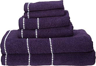 Trademark Global Bedford Home 67A-45798 Luxury Cotton Quick Dry, Zero Twist and Soft 6 Piece Set with 2 Bath Towels, Eggplant