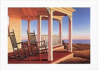 Buyartforless Framed Twilight on The Veranda by Daniel Pollera 36x24 Coastal Art Print Poster Country White Frame & Matted