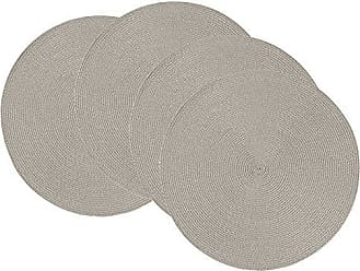 Now Designs Disko Round Placemats, Set of Four, Cobblestone Grey