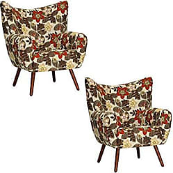 Gran Belo Decor Kit 2 Poltronas Decorativa Belize Pés Palito Dohler Marrom Floral - Gran Belo Decor