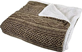Trademark Global Bedford Home Flannel/Sherpa Blanket - King - Chocolate/Taupe