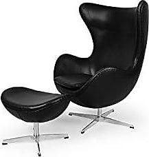 Kardiel Egg-Black-Aniline Amoeba Chair & Ottoman Leather