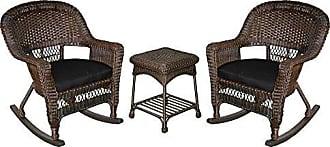 Jeco W00201R-A_2-RCES017 3 Piece Rocker Wicker Chair Set with with Black Cushion, Espresso