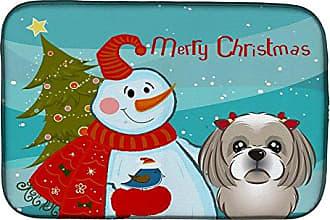 Carolines Treasures BB1746CMT Winter Holiday Gray Silver Shih Tzu Kitchen or Bath Mat 20x30 20H x 30W multicolor