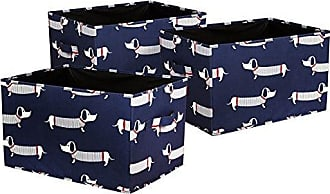 Triangle Home Fashions Lush Decor Sausage Dog Fabric Covered 3 Piece Collapsible Storage Box Set, 16 x 12 x 10, Navy