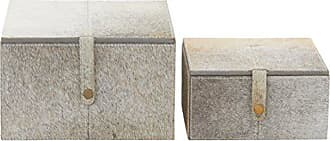 Benzara 95932 Trendy Wood Grey Leather Hide Box, Set of 2