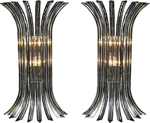 VENINI Large Pair Of Murano Glass Sconces In Clear With Black Vein, Italy