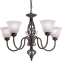 Thomas Lighting 2205CH Santa Fe 5 Light 28 Wide Chandelier with White